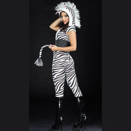 Wholesale Sexy Zebra Design Tight Suit Halloween Party Performance Cosplay Anime Costume FZ931