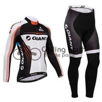 Wholesale 2014 Giant men winter fleece cycling Jersey sets with long sleeve bike jacket bib pants in cycling clothing bicycle wear