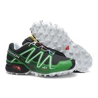 Wholesale 2013 New Hot Sale Salomon Shoes Salomon Speedcross for Men black green Running Tenis Designer Zapatillas Salomon