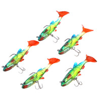 Wholesale 5Pcs cm g Soft Bait Lead Head Fish Lures Bass Fishing Tackle Sharp Treble Hook T Tail Colourful H12565