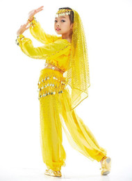 Wholesale 12set Girls Belly Dance Costume Suit Top Lantern Pants Coins Belt Head Chain Veil Bracelets tsc08s7