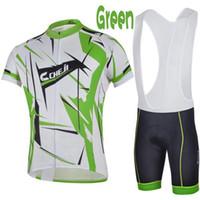 Wholesale 2014 Cheji Cycling Jersey Set Green Phantom Short Sleeve Shirts and Bib Padded Cycling Shorts Top Quality Cycling Jersey Wear