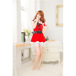 Wholesale Girls Sexy Dress Sexy Lingerie Stage Costume with Cappa Cap Belt Red Christmas Halloween Party Clothing Sexy Party Dress