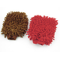 Wholesale Car Red Coffee Color Dual Sides Stretch Cuff Mitt Gloves Washing Tool
