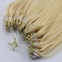 Wholesale Loop Micro Ring Brazilian Pruvian Indian Hair Extensions Blonde g strand Micro Ring Loop Silky Straight Human Virgin Hair