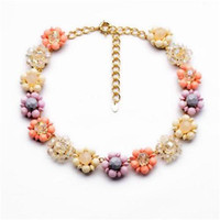 Wholesale Sweet Women Necklace cm Alloy Body Jewelry With Rhinestone Decoration Pretty Gilrs Necklace With Flower Pendant cm xl01058