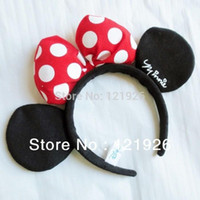 Cheap Girls Kids Children RED Minnie Mouse Headbands Party Costume Dress-Up Ears Headbands Christmas Party Cosplay
