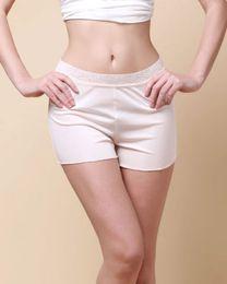 Women's 100% Pure Silk Knit Lacy Waistband Boy Leg Legging Shorts Solid Size M L XL