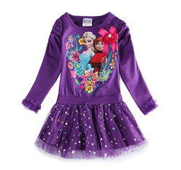 Wholesale Frozen Dress Autumn Long Sleeve Girl Princess Dresses Cotton Good Quality Baby Tutu Dress Fit M Age Kids Clothes WD356
