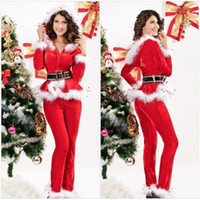 Wholesale 2014 New Fashion Women Christmas Lingerie Suit Theme Costume Stage Outfits Santa Claus Suits Red Lady Velvet Christmas Outfit