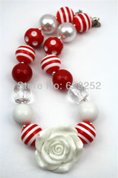 White Flower Necklace White&Red beads chunky necklaces for girls and kids CB281