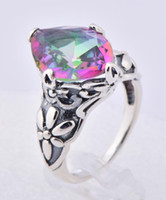 Wholesale 925 silver jewelry design mysterious international horse eye shape seven stones topaz ring fine carving a silver rings