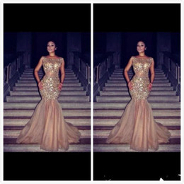 Wholesale 2014 Stunning Glitter Crystal Beaded Evening Dresses Bateau Neck Mermaid Party Dress for Woman Crystal Charming Celebrity Prom Gowns Pageant