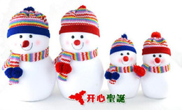 Wholesale 2014 Christmas Hot Selling Newest Christmas Tree Decorations Cute Snowman With Hats Big cm Small cm Sizes Children Christmas Presents