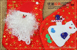Wholesale 2014 Christmas Collection New Arrivals Lovely cm Christmas Stockings Cute Golden Nap Material Snowman Santa Claus Lively Shape Gift Bags
