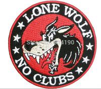 applique cafe - 3 quot LONE WOLF NO CLUBS Hog Rockers Cafe Racer Outlaw MC Biker Vest Metal Rock Punk retro sew applique iron on patch