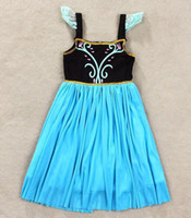 Cheap new 2014 Frozen Elsa Anna costume princess dress sequined cartoon costume Free shipping girls dresses.