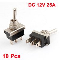 Wholesale Racing Car DC V A ON OFF Pins Toggle Switch Black Silver Tone