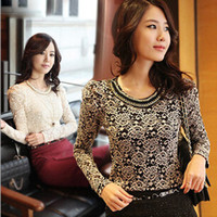 Cheap fall 2014 long sleeve lace designer blouses vintage tee shirts blusa camisa feminina de renda e croche white black dropshipping