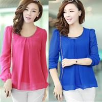 Cheap New Arrival 2014 Camisa Dudalina Women Casual Loose Long Sleeve Chiffon Blouse Shirt Top Blusas Femininas Clothing Free Shipping