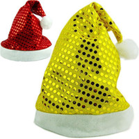 Wholesale 2014 Christmas Decorations New Year Ornaments Santa Claus Navidad Outdoor Decorations Christmas Hats Paillette Caps ZHJ0743