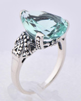 Wholesale 925 sterling silver fashion design trends teardrop shaped aquamarine ring seiko carving topaz stone rings