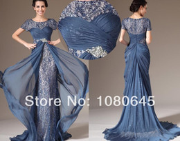 Wholesale Gorgeous Navy Blue Sequins Short Sleeve Mermaid Mother Of The Bride Dresses Godmother Dress Chiffon S114