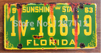 Wholesale FLORIDA High Quality Car number vintage tin signs Most Popular new desing Car number retro tin picture tin plate