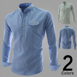 Wholesale New Design Men Shirt British Style Long Sleeve Male Slim Casual shirt Men s Cothing Blue Green Shirt