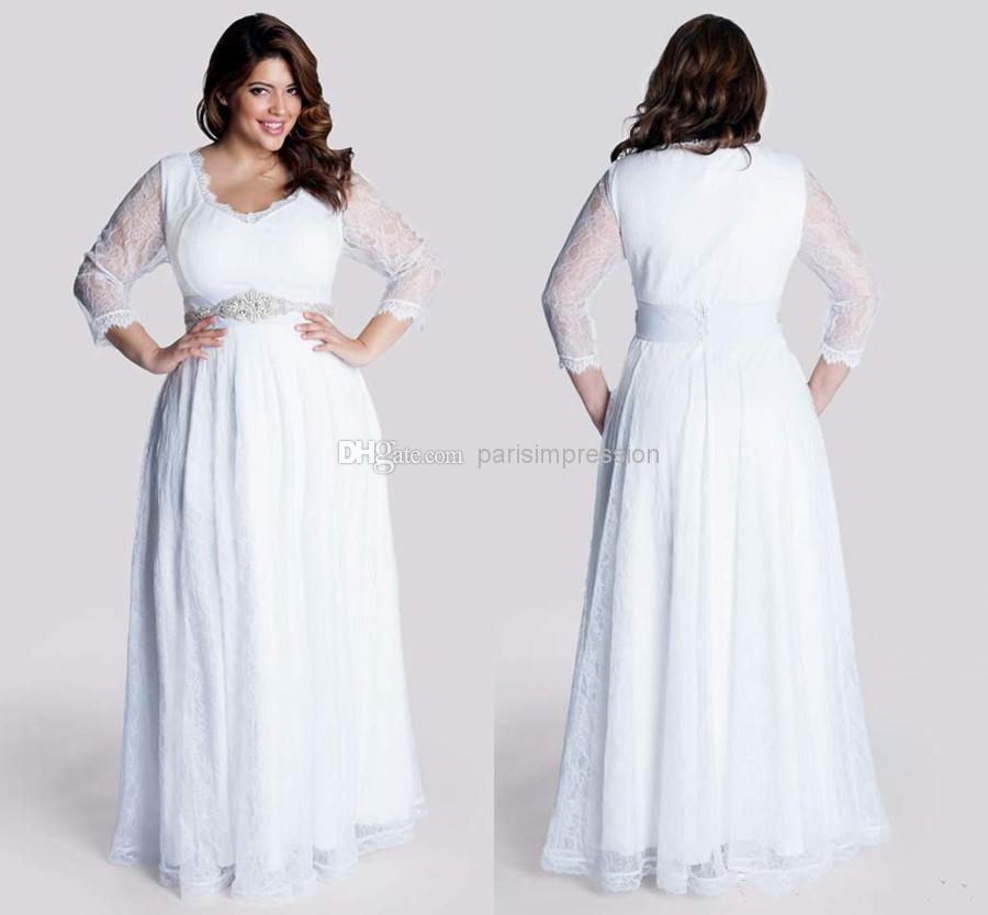 Simple 2015 plus size chiffon wedding dresses with for Plus size illusion wedding dress