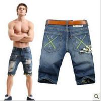 Wholesale Coolmax New Arrival Men s jeans summer korean style men s fashion men s denim shorts hem hole cowboy pants