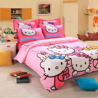 kids cartoon bedding set - designer pink hello kitty cartoon children kids comforter bedding sets adult queen size linen sheet duvet cover P04