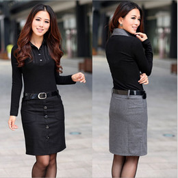 Wholesale 2014 autumn new women temperament self cultivation OL commuter hit color mosaic false two long sleeved dress