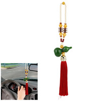 Wholesale Car Home Beads Link Green Faux Jade Gourd Pendant Red Tassel Hanging Ornament