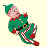 Spring / Autumn baby christmas clothes - 2014 new baby clothing sets cotton girl Christmas clothing boys suits children Long sleeves romper hat kid clothing sleepwear
