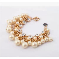 Wholesale Beaded Bangle Bracelets With Pearl Bracelets for Women With Rhinestone Designer Charm Bracelets Top Fashion sl0086