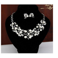 resin material - Jewelry Sets For Bridesmaid Alloy And Resin Materials White Women Necklace X4 CM With Rhinestone Pearls Lady Rings X1 CM
