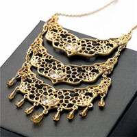 pendant flower rhinestone - Plate Golden Hollowed Statement Necklace CM Designer Women Necklace Alloy Rhinestone Materials Long Pendant Necklace Flower Pattern