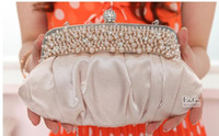 Wholesale Fashion women Elegant Noble Dinner Ladies Bag Evening Bag with Pearls fashion bag clutch bags wedding bag Cheap