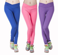 Wholesale 2014 New High V Waist Candy Colorful Leggings Sportswear Pants Fashion Elastic Strtched Yoga Gym fitness clothing for women