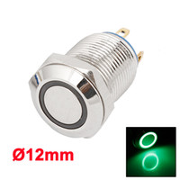 Cheap 12mm 12V SPST Momentary Green LED Lighted Push Button Reset Switch for Car Truck
