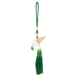 Wholesale Fringed Beads Accent Green Pendant Tassels Calabash Car Hanging Decor