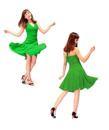 Wholesale Ladies Latin Dress Skirt V neck Halter Sleeveless Design Ballroom Stage Dance Costume tl065