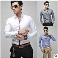 Cheap New brand mens Luxury Slim Fit Dress Shirts causal shirt men stylish camisa high quality fashion men's dudalina 4 colors