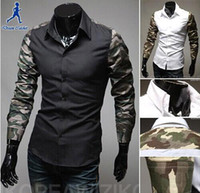 Cheap Spring New Fashion Hot Sale Men 2 Colors Stylish Slim Fit Dress Shirt Leisure Shirt Camouflage shirt