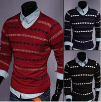 Wholesale new Men s sweater casual slim cotton sweater men men s striped V neck long sleeve pullover sweater