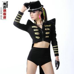 Wholesale 2014 new Fashion tuxedo dj female singer ds costumes fashion coat dance jazz clothing bodysuit stage dress tail performance