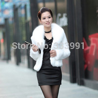 Cheap Fur faux fur coat mink hair rex rabbit hair cape jacket black and white fur overcoat imitation rabbit fur faux fox collar