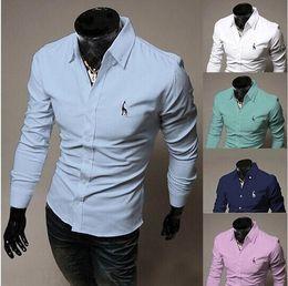 Wholesale High quality new arrive men long sleeve shirt mens solid slim shirt fashion casual shirt men plus size M XL