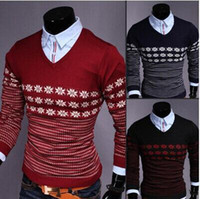 Wholesale new arrive hot sale Men s long sleeve sweater Men s casual slim cotton sweater men s V neck pullover sweater